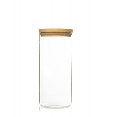 Recipient de sticla cu capac de lemn 1400ml