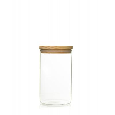 Recipient de sticla cu capac de lemn 1000ml