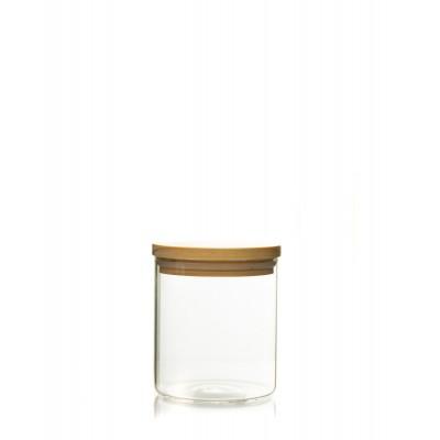 Recipient de sticla cu capac de lemn 650ml